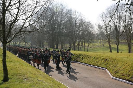 Soldiers from the 1st Battalion The Royal Irish Regiment have celebrated their Irish heritage with a traditional parade and the presentation of Shamrocks at their base in in Tern Hill, Shropshire.