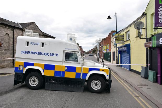 The scene in Armagh following reports of an explosion on Sunday morning. Photo Mark Winter.