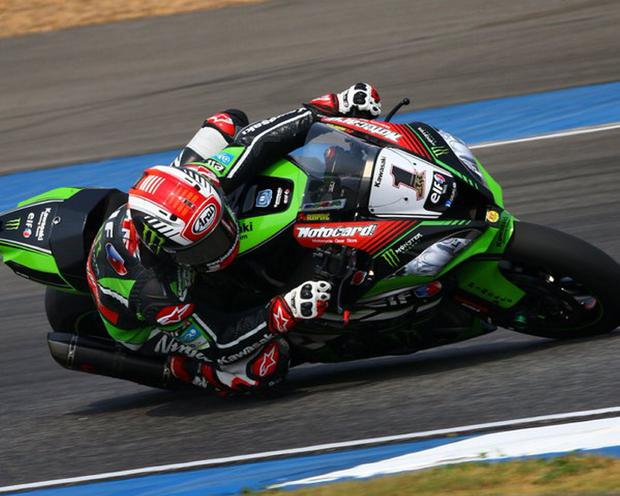 In the points: Jonathan Rea celebrated his successful weekend in Thailand during which he recorded one win and a second place