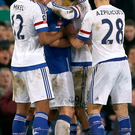 Chelsea's Diego Costa (centre right) and Everton's Gareth Barry get involved in an altercation