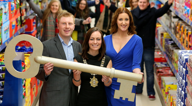 Paul Gibson of Lidl with then Lord Mayor Nichola Mallon and actress Bronagh Waugh at the opening of Lidl on Belfast's High Street in November 2014