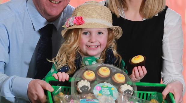 Elaine Hollywood, product manager for Scott's Bakery, with Asda buying manager Brian Conway and Bea Black