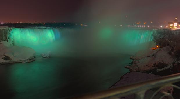 Niagara Falls when it went green for St Patrick's Day 2015