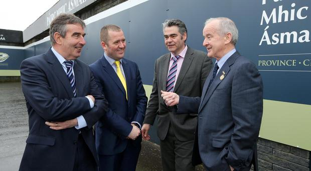From Left to right: Tom Daly, Chairman of the Casement Park Project Board, Stephen McGeehan, Project Sponsor, Rory Miskelly, Project Director and Michael Hasson, Ulster Council President Picture by Kelvin Boyes / Press Eye.