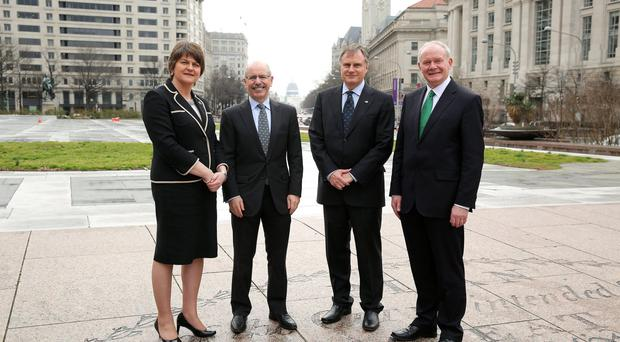 First Minister Arlene Foster and Deputy First Minister Martin McGuinness in Washington DC with Shaun Kelly (left), global chief operating officer of KPMG International, and John Hartnett, founder and CEO of SVG Partners LLC