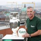 Footballing giant: Graeme Souness with the European Championship trophy in Belfast yesterday