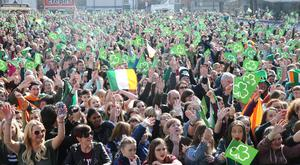 PACEMAKER BELFAST 17/3/2016 Thousands enjoy the open air concert at Custom House Square. St Patrick's day celebrations in Belfast city centre this afternoon. Thousands lined the route from Belfast City Hall to Custom House Square where an open air concert will take place.