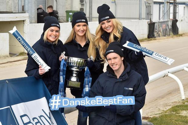 The Danske Bank promotions team with the cup, from left, Stephanie McGall, Victoria Withers, Meagan Green and Adam Magee. Photo by Tony Hendron Presseye.