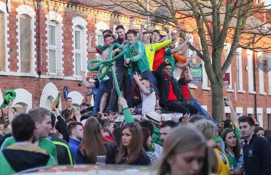 Revellers in the Holylands on St Patrick's day on March 17, 2016 Belfast, Northern Ireland ( Photo by Kevin Scott / Belfast Telegraph )