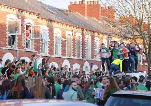 Picture - Kevin Scott / Belfast Telegraph Belfast , UK - March 17, Pictured is The scenes in the Holylands on St Patricks day on March 17, 2016 Belfast, Northern Ireland ( Photo by Kevin Scott / Belfast Telegraph )