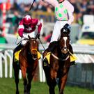 Ruby sparkles: Ruby Walsh, celebrating Ryanair Chase victory on Vautour at the Cheltenham Festival yesterday, goes for Gold Cup glory today on Djakadam