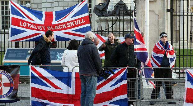 Loyalist flag protesters outside Belfast City Hall on Thursday 17th March 2016. Picture by Freddie Parkinson/Press Eye