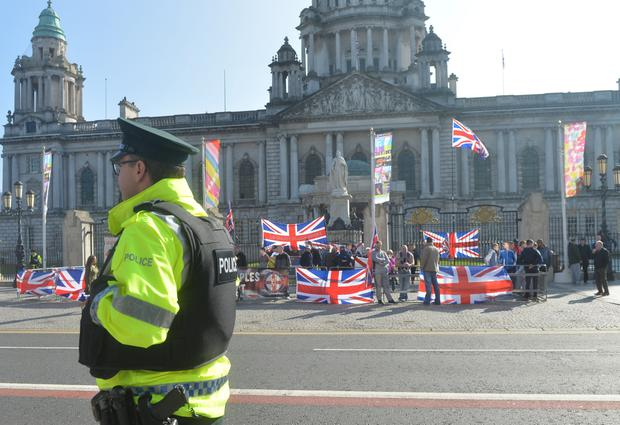 Flag Protesters outside Belfast City on St Patrick's day after the Parade in Belfast City Centre on Thursday. Photo Pacemaker Press