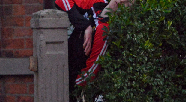 A reveller sleeps it off in a hedge