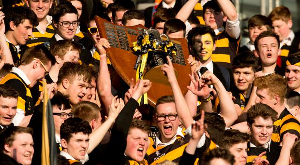 PACEMAKER BELFAST 17/03/2016 Ulster Schools Cup Final. RBAI V Cambell College at Kingspan Stadium. Pictured are RBAI celebrating their win during todays game at Kingspan Stadium in Belfast. Picture Mark Marlow/Pacemaker press