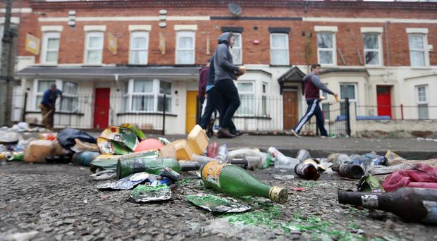Friday 18th March 2016 Clean up operation takes place this morning after Saint Patricks day in the Holylands area South Belfast. Photographer Jonathan Porter / Press Eye