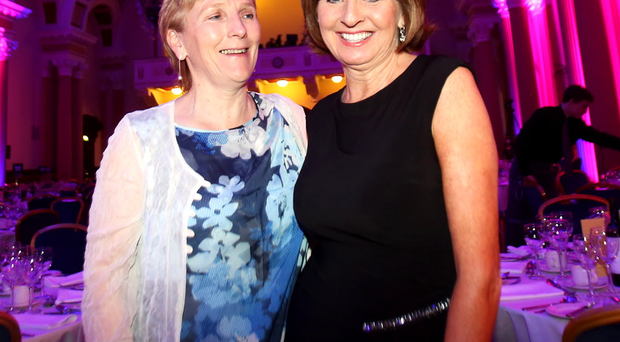 Special night: Hall of Fame inductee Eilish Rutherford (left) and Female Personality of the Year, bowler Sandra Bailie, at Belfast Sports Awards at the City Hall last night