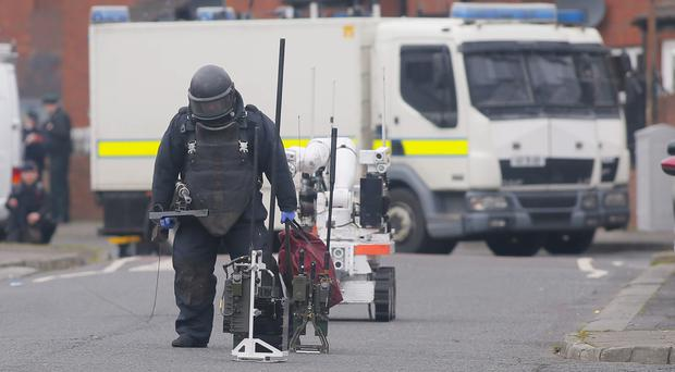 Police and ATO at the scene of an explosion in the Sheridan Street area of north Belfast on March 19, 2016 Belfast, Northern Ireland ( Photo by Kevin Scott / Presseye )