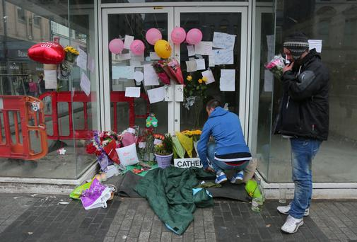 Picture - Kevin Scott / Presseye Belfast , UK - March 20, Pictured is the shrine to homeless woman Catherine who passed away in the doorway of a shop in Belfast on March 20, 2016 Belfast, Northern Ireland ( Photo by Kevin Scott / Presseye )
