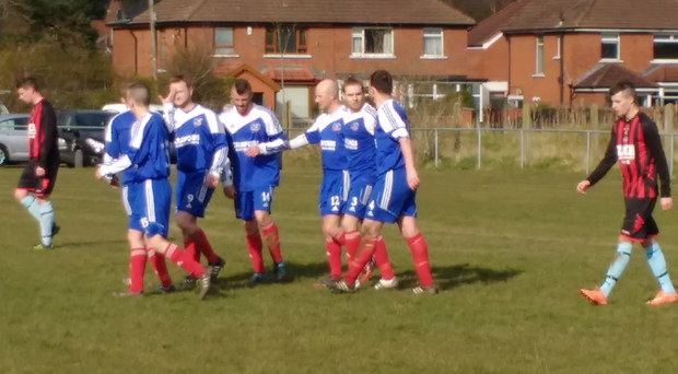Albert Foundry players celebrate their third goal in the 3-1 win over Bryansburn Rangers