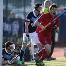 Get in: Monkstown's Jonny Burton celebrates after scoring a late equaliser