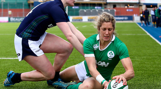 Hat-trick: Alison Miller scores her third try of the game