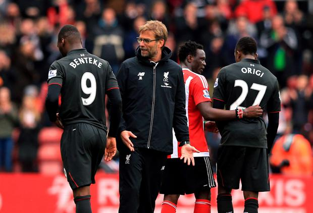 Blown it: Jurgen Klopp has a word with Christian Benteke after watching Liverpool lose despite having a 2-0 half-time advantage
