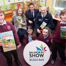(Back row) Alma Jordan, Founder of AgriKids; Cormac McKervey, Ulster Bank Senior Agriculture Manager and Brian Monson, Deputy Chief Executive, Health and Safety Executive Northern Ireland are pictured launching a farm safety competition in Andrews Memorial Primary School in Comber alongside primary 6 pupils Michael Gabbie, Sarah Corken, Luke Ritchie and Ruby Donaldson. Young people aged 7-16 are being invited to submit ideas for a story illustrating the potential dangers on a farm and how to stay safe, with the winning 4 entries to be published into a book of short stories that will be launched at this year's Balmoral Show. Further information and full details are available at: www.balmoralshow.co.uk