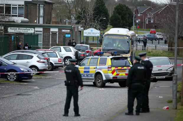 Scene of shooting at St Brendan's Primary School in Cragaivon, Co Armagh this afternoon. Photo by Kelvin Boyes / Press Eye.