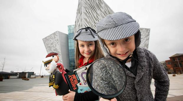 Junior Titanic Explorer Wanted Katie Marks (aged 8) and Stewart Finlay (aged 9) help Titanic Belfast on its search for its newest recruit - an inquisitive, enthusiastic child reviewer with a nose for a story and a passion for Belfast's history, the sea or Titanic! This Easter, Titanic Belfast is offering one lucky child the opportunity to experience all it has to offer for free – for an entire year – whilst casting their eye over its family trail throughout the galleries, on board SS Nomadic and its new audio guides as well as meeting its mascots. If you think your child has what it takes, visit www.titanicbelfast.com Picture by Brian Morrison