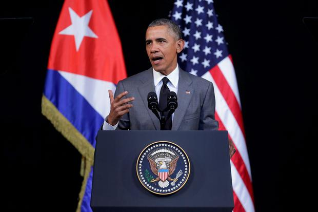 US President Barack Obama delivers remarks at the Gran Teatro de la Habana Alicia Alonso in the hisoric Habana Vieja, or Old Havana, neighborhood March 22, 2016 in Havana, Cuba. Described as a message to the Cuban people about his vision for the future of Cuba, Obama's speech will be nationally televised to the 11 million people on the socialist island. (Photo by Chip Somodevilla/Getty Images)