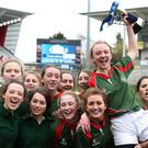 Enniskillen Collegiate captain Rebecca Pennell celebrates with her team a 9-5 victory over Ballyclare HS during Tuesday's Danske Bank Girls Tag Schools' Cup Final at Kingspan Stadium. Picture by Brian Little/Presseye
