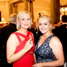 (Left to Right) Linda Quinn and Orla Turley attended the Children Cancer Unit Charity's Pearl Ball at the Belfast City Hall. The gala event celebrated 30 years of the Children's Cancer Unit Charity's commitment to providing crucial support to patients of the Cancer & Haematology Unit at The Royal Belfast Hospital for Sick Children.