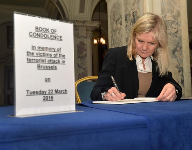 Book of condolence opens at Belfast City Hall on Wednesday for the victims of Tuesday's terror attacks in Brussels. Photo Colm Lenaghan/Pacemaker Press
