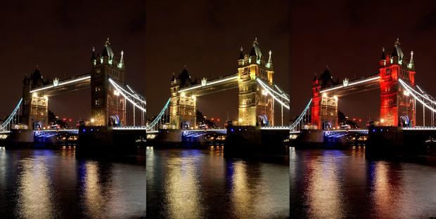 Composite image showing Tower Bridge in central London lit in the colours of the Belgium flag as a tribute following yesterday's terrorist attacks in Brussels. PA