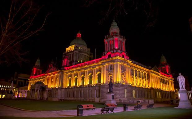 Belfast City Hall illuminated in Belgian colours following terror attacks in Brussels which killed 31 people. Picture by Kevin Scott / Press Eye.