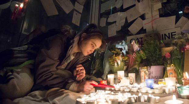 Pictured is homeless teen Maria Brady (18) who described Catherine Kenny as being like a mother to her during a vigil on March 23, 2016 Belfast, Northern Ireland ( Photo by Kevin Scott / Presseye )