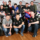 Raring to go: Supporting the launch of the 2016 Vauxhall International North West 200 are (front, from left) William Dunlop, Jeremy McWilliams and Ryan Farquhar; back row, Alastair Seeley, Peter Hickman, Conor Cummins, Dan Kneen, Michael Rutter, Lee Johnston and John McGuinness