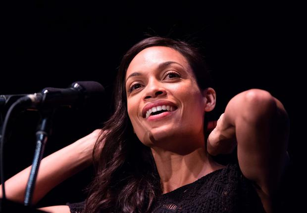 Actress Rosario Dawson speaks at a campaign rally for Democratic presidential candidate Bernie Sanders, March 23, 2016 at the Wiltern Theater in Los Angeles, California. AFP/Getty Images