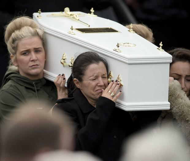 The funeral of the five Buncrana pier victims takes place at Holy Family Church, Ballymagroarty on Thursday. Photo Mark Marlow/Pacemaker Press