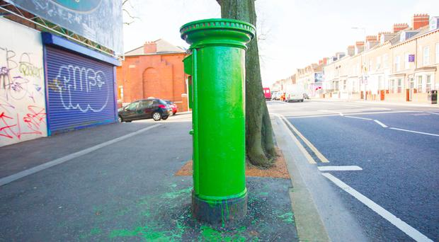 Post boxes along the falls road from Belfast Centre to Andersonstown have been painted over green in preparation for the 1916 commemoration parades due to be held over easter. March 25, 2016 Belfast, Northern Ireland ( Photo by Kevin Scott / Presseye )
