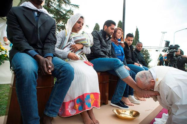 Pope Francis at the Castelnuovo di Porto refugees center near Rome on March 24, 2016.