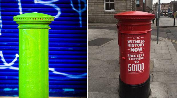 The green and red postboxes