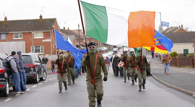 Masked Republicans pictured marching in Lurgan. Pic Kevin Scott / Presseye