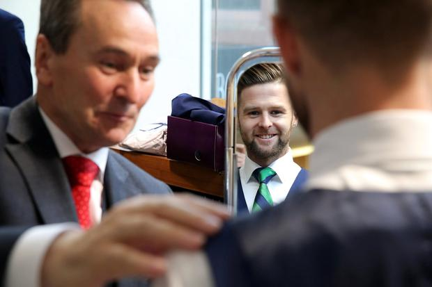 Northern Ireland stars Gareth McAuley, Jonny Evans, Paddy McNair and Oliver Norwood took time out from preparing for their home friendly against Slovenia to get fitted out for their official suit for France this summer. Picture by Kelvin Boyes / Press Eye.