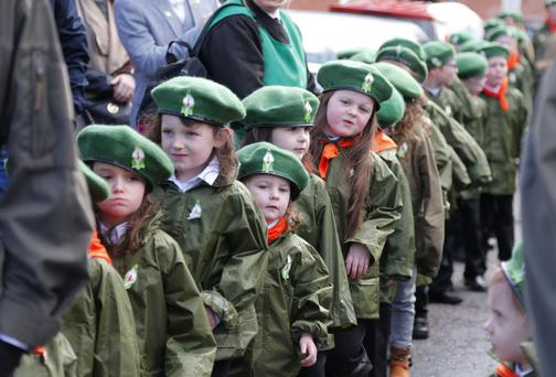 Easter Commemoration parade as it makes its way along the Falls Road in Belfast Photo by Kevin Scott/Presseye