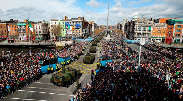 Crowds in Dublin at the Easter Rising Commemoration. (Photo by Maxwells/Irish Government - Pool/Getty Images)