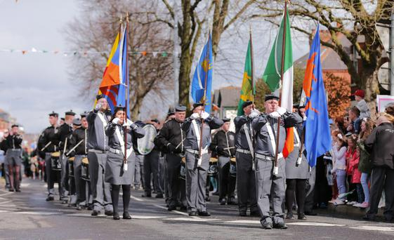 The Centenary 1916 Easter Commemoration parade as it makes its way along the Falls Road in Belfast on March 27, 2016 Belfast, Northern Ireland ( Photo by Kevin Scott / Presseye )