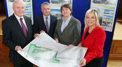 Deputy First Minister Martin McGuinness, chief executive of JH Turkington and Sons Trevor Turkington, First Minister Arlene Foster and Agriculture Minister Michelle O'Neill