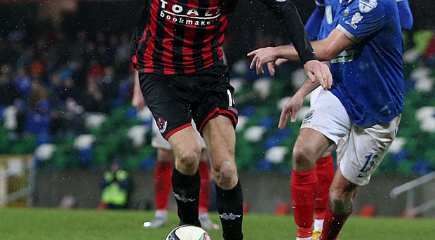 Race hotting up: Linfield's Sean Ward and Crusaders ace Jordan Forsythe know there is little margin for error now